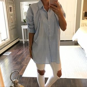 Maeve baby blue white pleated tunic shirt small
